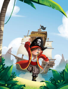 """Illustration de couverture du recueil: """"Histoires de pirates"""" paru chez Hemma."""