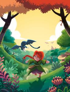 """Illustration de couverture de l'album: """"Nessa & la forêt millénaire"""" paru chez Hemma."""