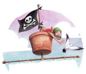"""Illustration du recueil: """"Histoires de pirates"""" paru chez Hemma."""