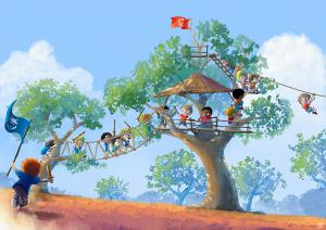 illustration-kid-play-war-tree-house