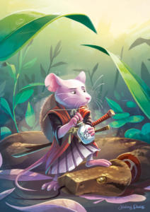 "Illustration personnelle - Souris samouraï ""Miyamoto Mouse ashi"""