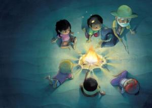 illustration-toi-mon-papa-feu-camp-nuit-histoire-night-jeunesse-jeremy-parigi-kid