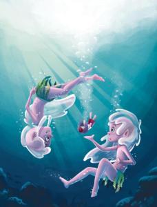 """Illustration de l'album: """"Les petits dieux de l'Olympe"""" paru chez Hemma."""